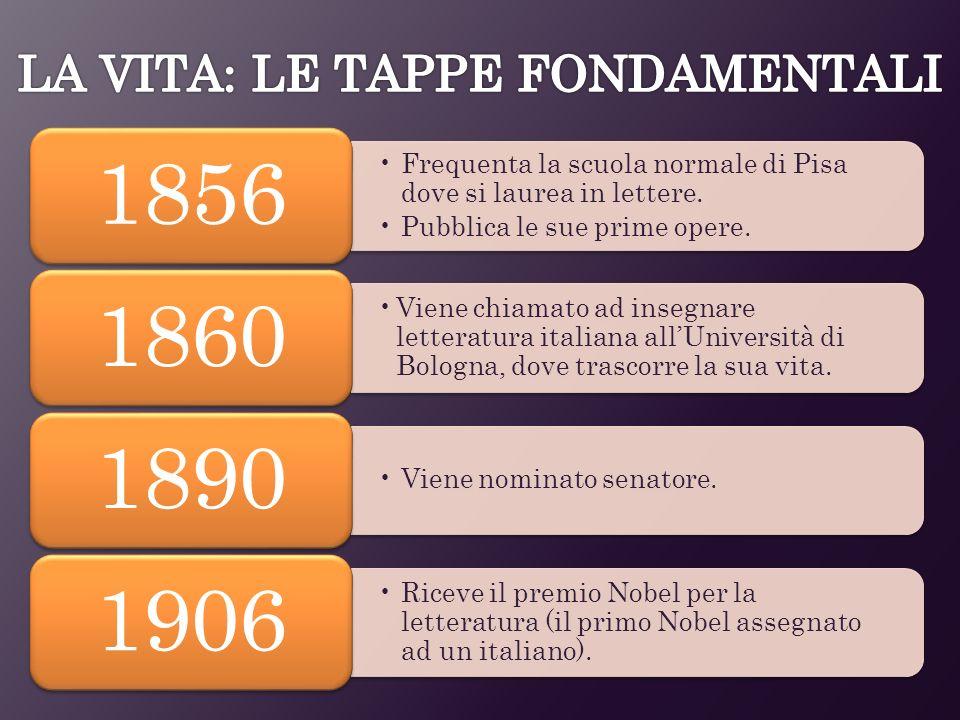 Frequenta la scuola normale di Pisa dove si laurea in lettere. Pubblica le sue prime opere. 1856 Viene chiamato ad insegnare letteratura italiana allU