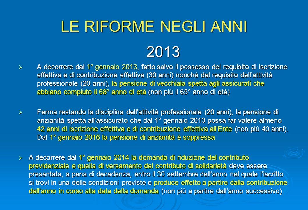 LE RIFORME NEGLI ANNI 2013 A decorrere dal 1° gennaio 2013, fatto salvo il possesso del requisito di iscrizione effettiva e di contribuzione effettiva