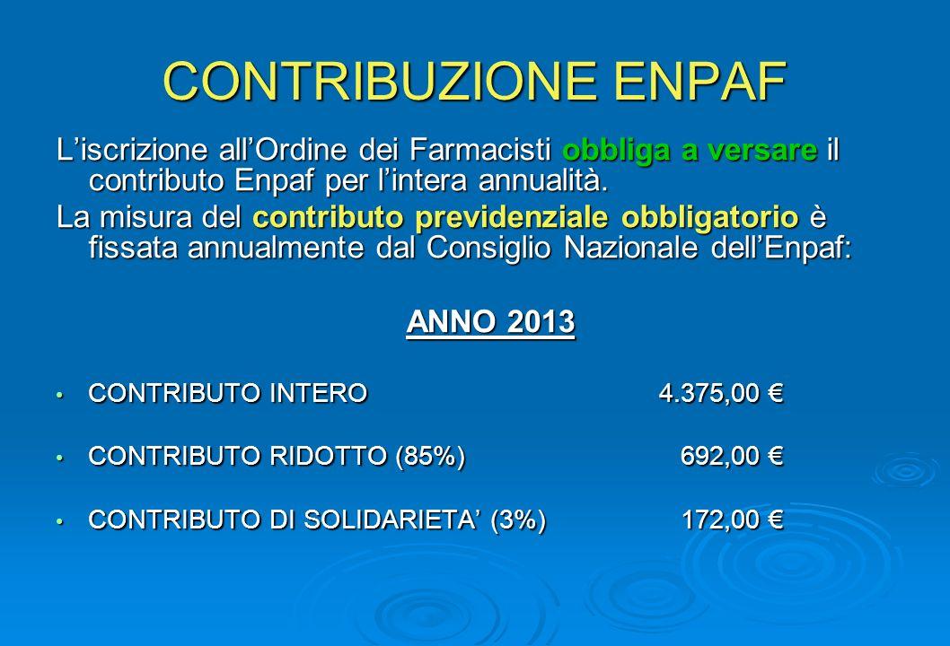CONTRIBUZIONE ENPAF Liscrizione allOrdine dei Farmacisti obbliga a versare il contributo Enpaf per lintera annualità. La misura del contributo previde
