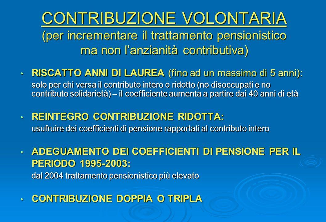 CONTRIBUZIONE VOLONTARIA (per incrementare il trattamento pensionistico ma non lanzianità contributiva) RISCATTO ANNI DI LAUREA (fino ad un massimo di