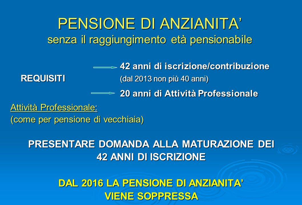 PENSIONE DI ANZIANITA senza il raggiungimento età pensionabile 42 anni di iscrizione/contribuzione REQUISITI (dal 2013 non più 40 anni) 20 anni di Att