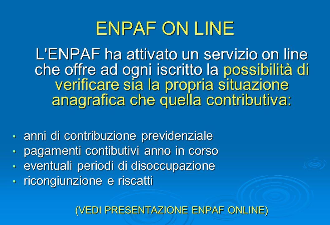 ENPAF ON LINE L'ENPAF ha attivato un servizio on line che offre ad ogni iscritto la possibilità di verificare sia la propria situazione anagrafica che