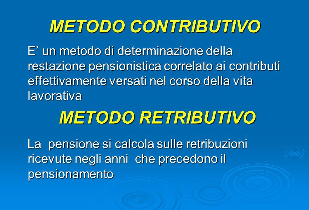 METODO CONTRIBUTIVO E un metodo di determinazione della restazione pensionistica correlato ai contributi effettivamente versati nel corso della vita l