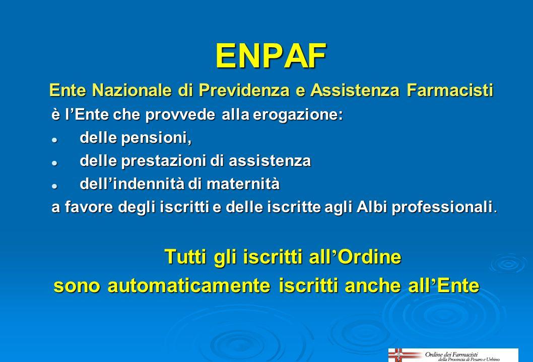 ENPAF Ente Nazionale di Previdenza e Assistenza Farmacisti è lEnte che provvede alla erogazione: delle pensioni, delle pensioni, delle prestazioni di