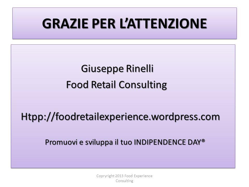 GRAZIE PER LATTENZIONE Giuseppe Rinelli Giuseppe Rinelli Food Retail Consulting Food Retail Consulting Htpp://foodretailexperience.wordpress.com Htpp://foodretailexperience.wordpress.com Promuovi e sviluppa il tuo INDIPENDENCE DAY® Promuovi e sviluppa il tuo INDIPENDENCE DAY® Giuseppe Rinelli Giuseppe Rinelli Food Retail Consulting Food Retail Consulting Htpp://foodretailexperience.wordpress.com Htpp://foodretailexperience.wordpress.com Promuovi e sviluppa il tuo INDIPENDENCE DAY® Promuovi e sviluppa il tuo INDIPENDENCE DAY® Copryright 2013 Food Experience Consulting