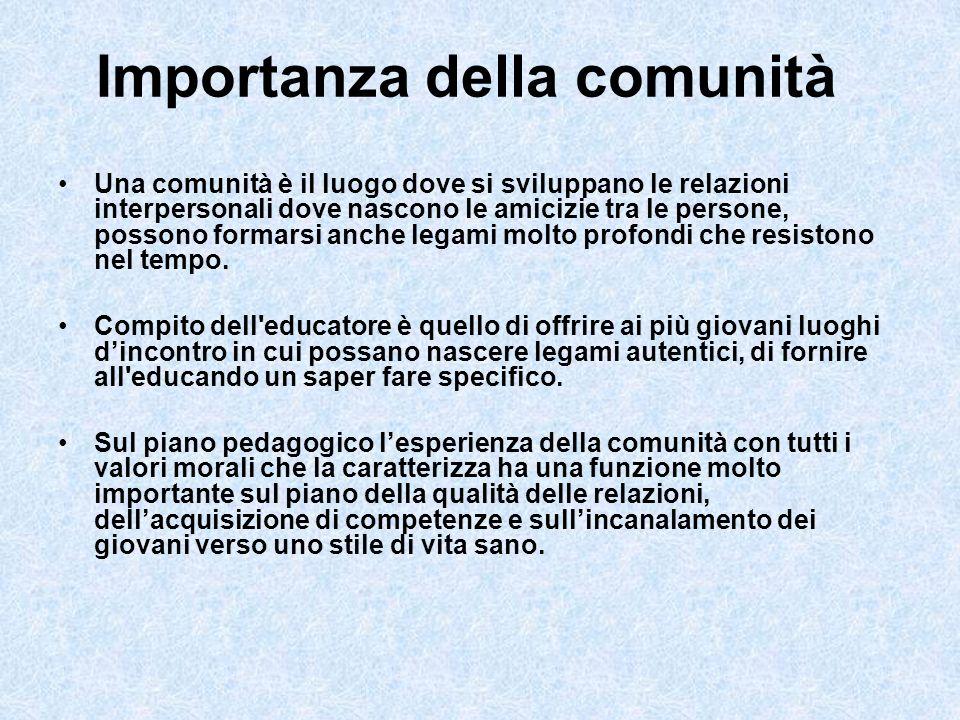 Importanza della comunità Una comunità è il luogo dove si sviluppano le relazioni interpersonali dove nascono le amicizie tra le persone, possono form