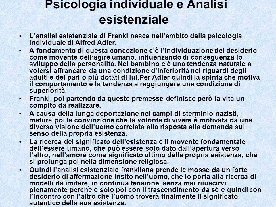 Psicologia individuale e Analisi esistenziale Lanalisi esistenziale di Frankl nasce nellambito della psicologia individuale di Alfred Adler. A fondame