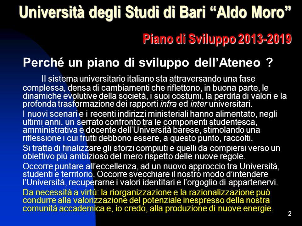 2 Università degli Studi di Bari Aldo Moro Piano di Sviluppo 2013-2019 Perché un piano di sviluppo dellAteneo .