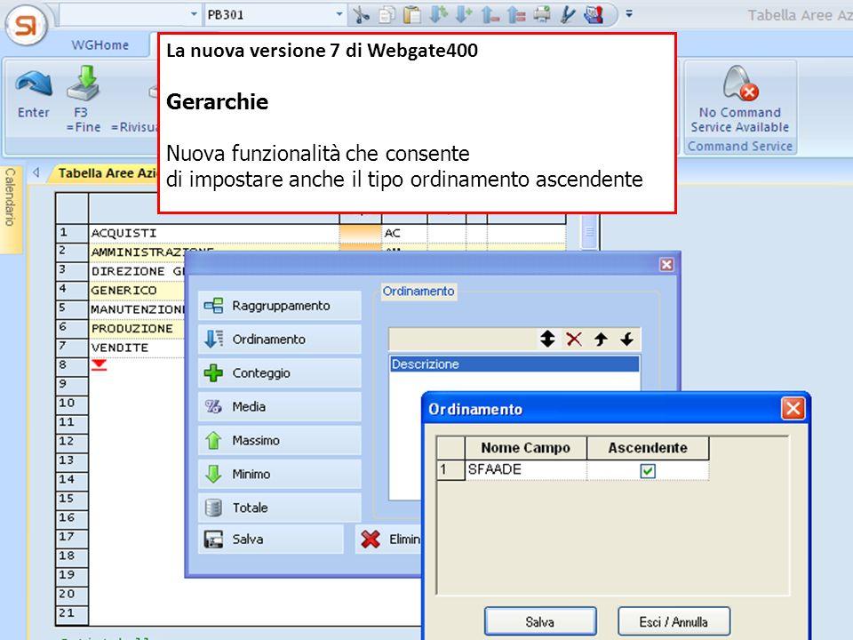 La nuova versione 7 di Webgate400 Gerarchie Nuova funzionalità che consente di impostare anche il tipo ordinamento ascendente