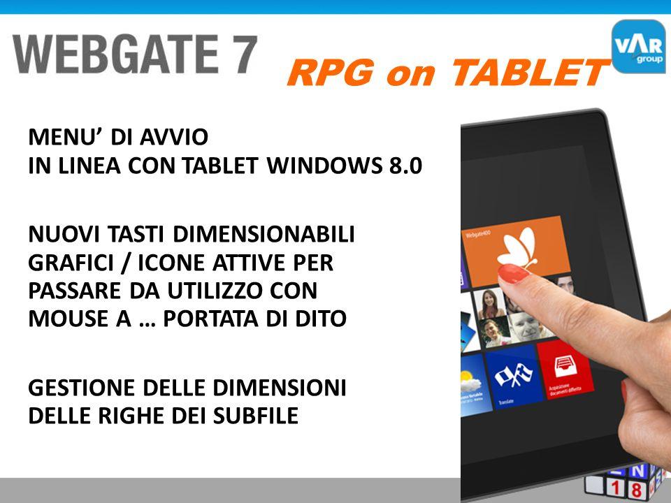 MENU DI AVVIO IN LINEA CON TABLET WINDOWS 8.0 NUOVI TASTI DIMENSIONABILI GRAFICI / ICONE ATTIVE PER PASSARE DA UTILIZZO CON MOUSE A … PORTATA DI DITO GESTIONE DELLE DIMENSIONI DELLE RIGHE DEI SUBFILE RPG on TABLET