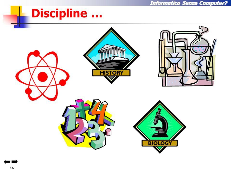 15 Informatica Senza Computer. Esempi di Discipline … 1.Filosofia 2.B.