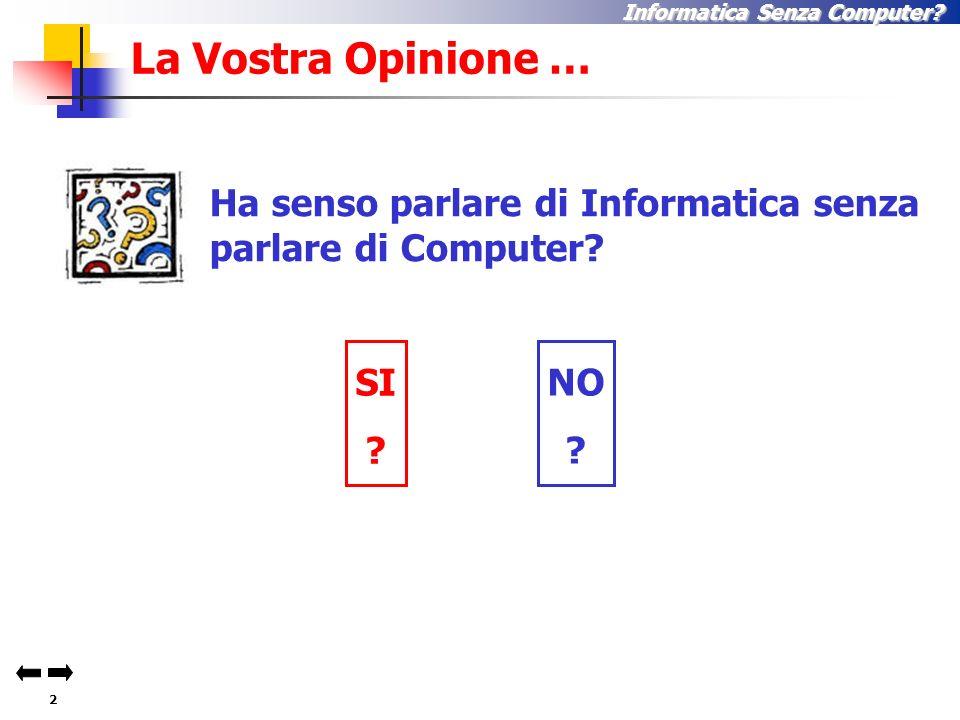 2 Informatica Senza Computer.La Vostra Opinione … SI .