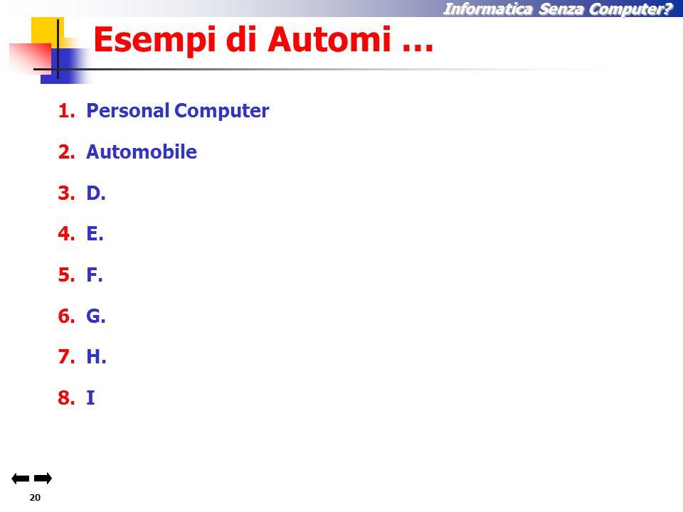 19 Informatica Senza Computer? In modo automatico … Meccanicamente, senza rendersi conto di ciò che si fa Tramite un automa