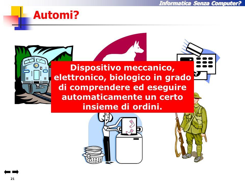 20 Informatica Senza Computer? Esempi di Automi … 1.Personal Computer 2.Automobile 3.D. 4.E. 5.F. 6.G. 7.H. 8.I