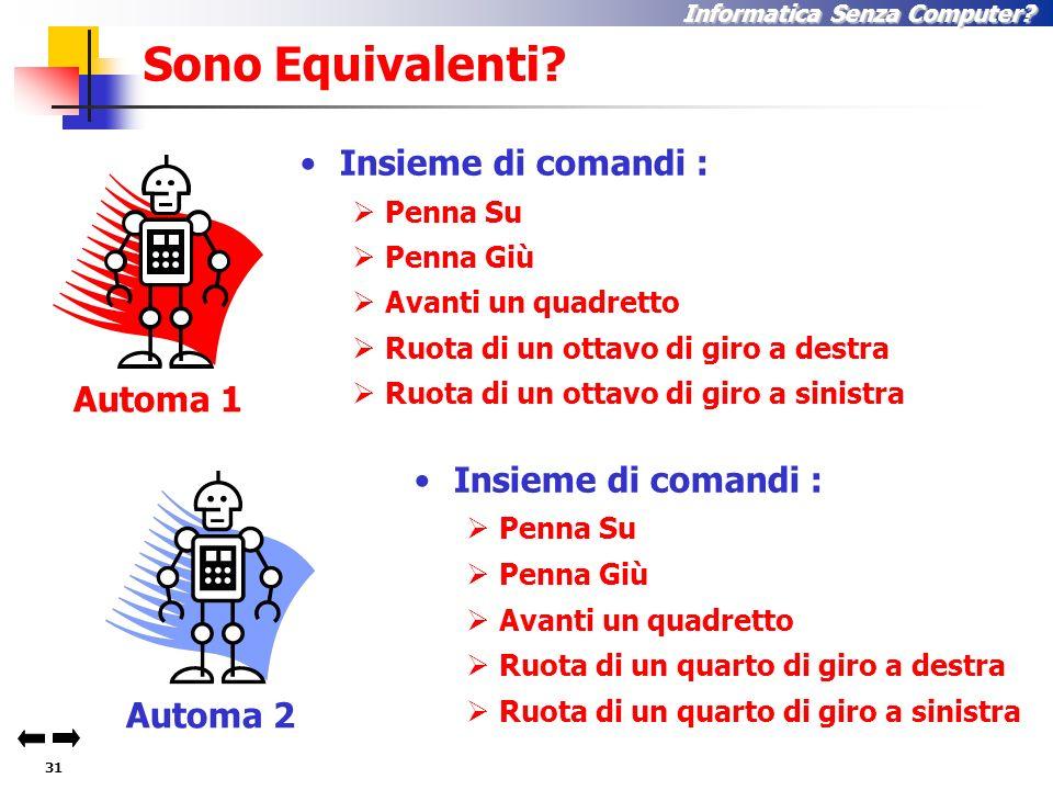30 Informatica Senza Computer Automa 2 Equivalenza tra Automi A Automa 1 A A A A A