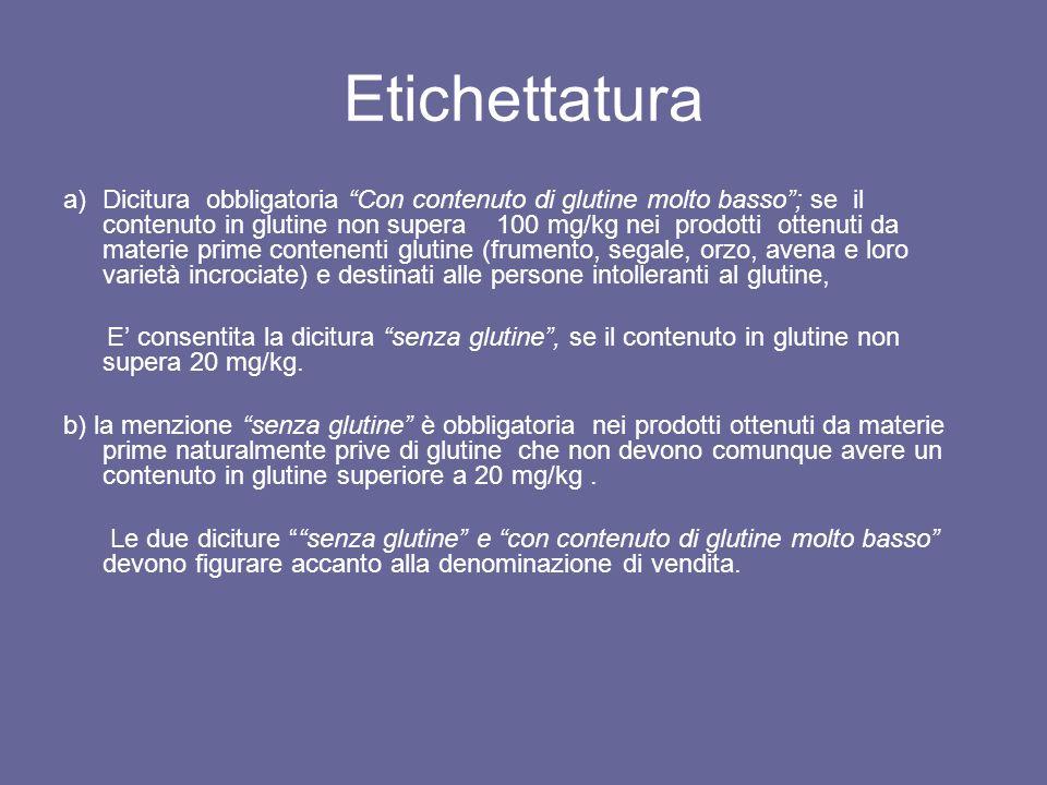 Etichettatura a)Dicitura obbligatoria Con contenuto di glutine molto basso; se il contenuto in glutine non supera 100 mg/kg nei prodotti ottenuti da m