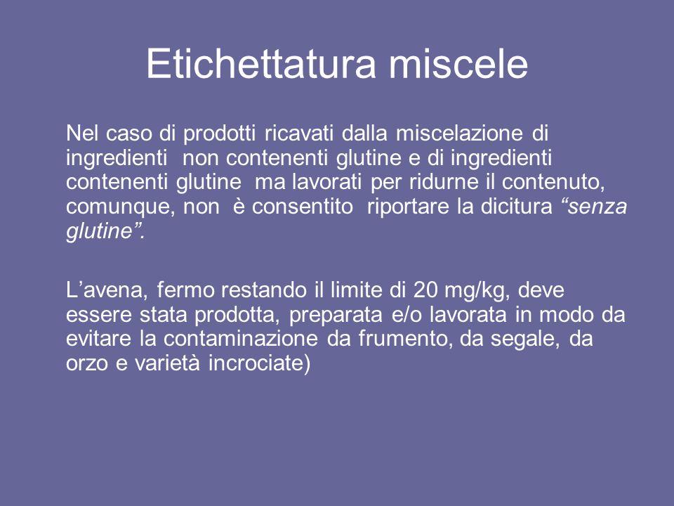 Etichettatura miscele Nel caso di prodotti ricavati dalla miscelazione di ingredienti non contenenti glutine e di ingredienti contenenti glutine ma la