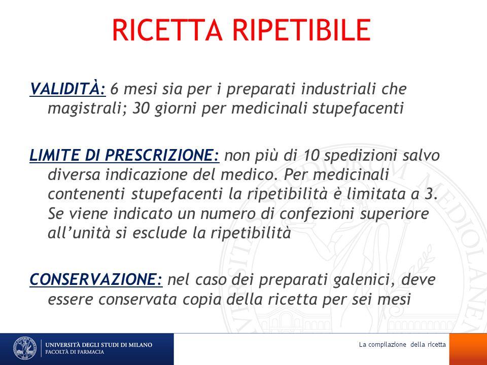 RICETTA RIPETIBILE VALIDITÀ: 6 mesi sia per i preparati industriali che magistrali; 30 giorni per medicinali stupefacenti LIMITE DI PRESCRIZIONE: non