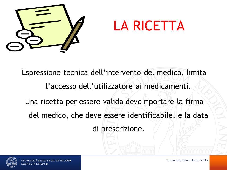 LA RICETTA Espressione tecnica dellintervento del medico, limita laccesso dellutilizzatore ai medicamenti. Una ricetta per essere valida deve riportar