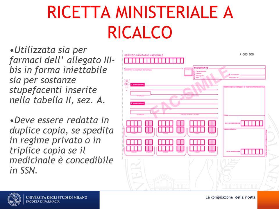 RICETTA MINISTERIALE A RICALCO Utilizzata sia per farmaci dell allegato III- bis in forma iniettabile sia per sostanze stupefacenti inserite nella tab