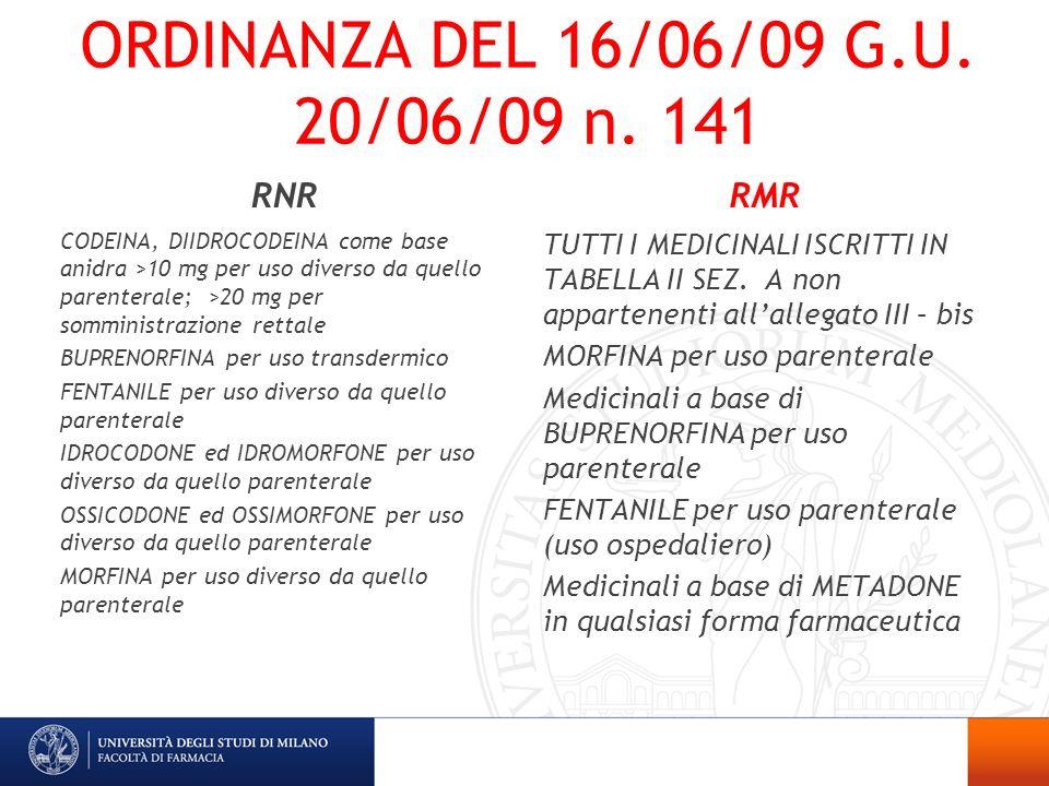 ORDINANZA DEL 16/06/09 G.U. 20/06/09 n. 141 RNR CODEINA, DIIDROCODEINA come base anidra >10 mg per uso diverso da quello parenterale; >20 mg per sommi