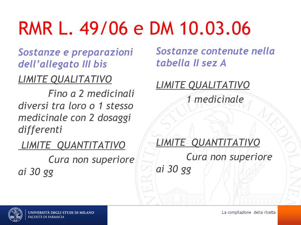 RMR L. 49/06 e DM 10.03.06 Sostanze e preparazioni dellallegato III bis LIMITE QUALITATIVO Fino a 2 medicinali diversi tra loro o 1 stesso medicinale