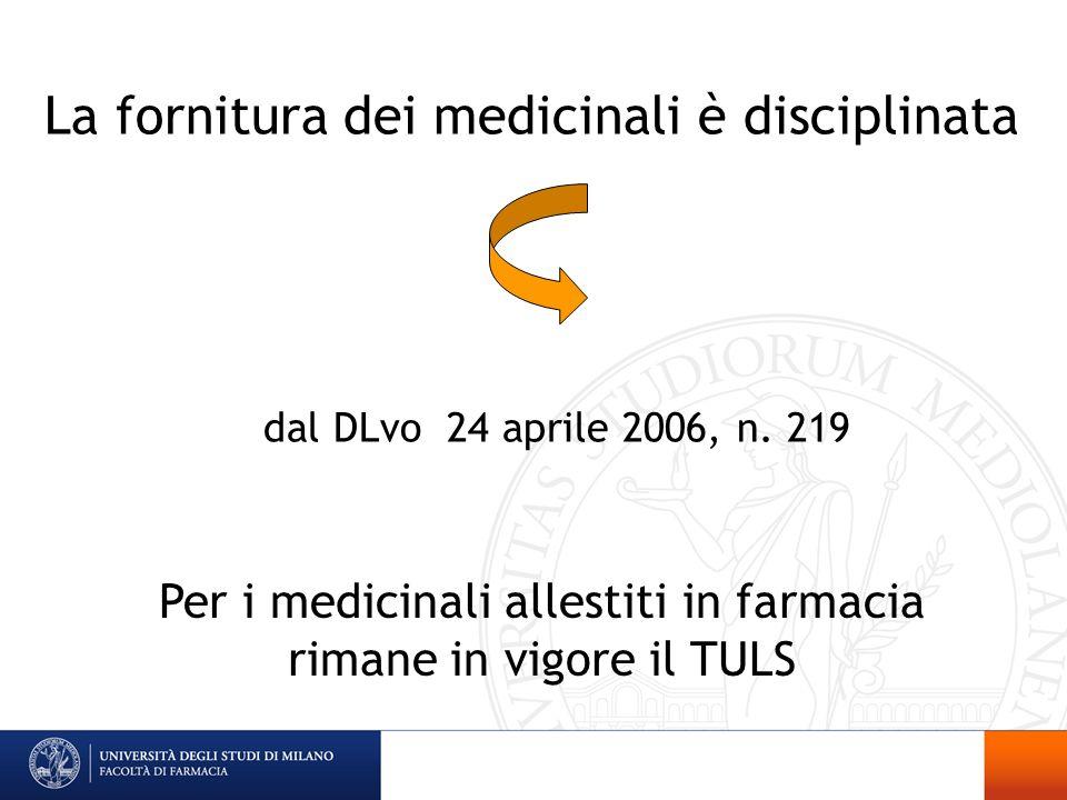 Per i medicinali allestiti in farmacia rimane in vigore il TULS La fornitura dei medicinali è disciplinata dal DLvo 24 aprile 2006, n. 219
