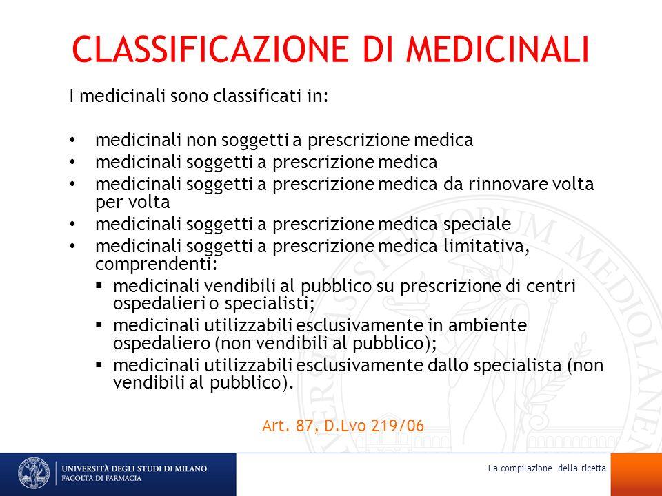 CLASSIFICAZIONE DI MEDICINALI I medicinali sono classificati in: medicinali non soggetti a prescrizione medica medicinali soggetti a prescrizione medi