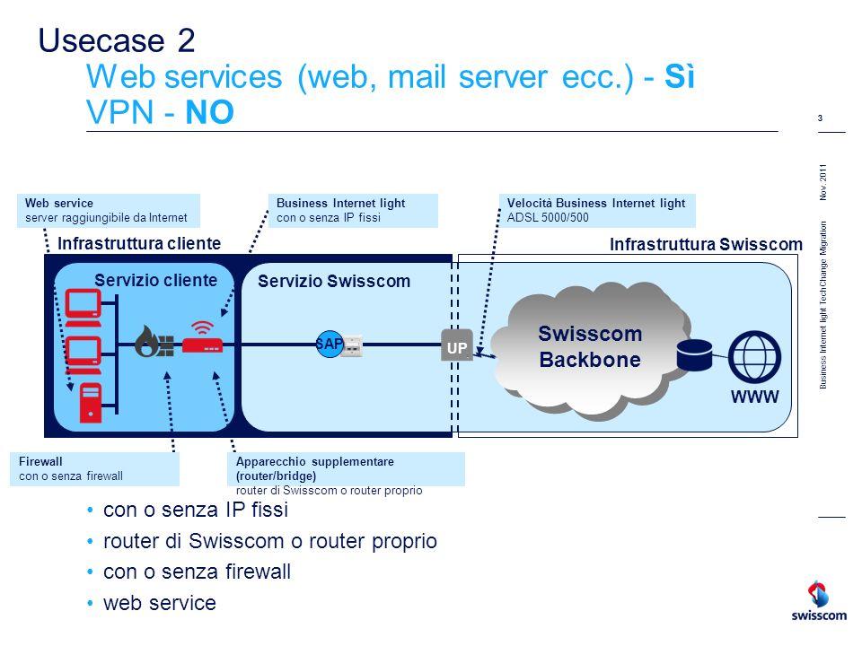 Nov. 2011 3 Business Internet light TechChange Migration 3 Usecase 2 Web services (web, mail server ecc.) - Sì VPN - NO con o senza IP fissi router di