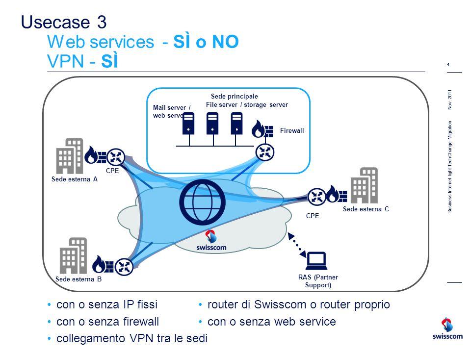 Nov. 2011 4 Business Internet light TechChange Migration 4 Usecase 3 Web services - SÌ o NO VPN - SÌ con o senza IP fissi con o senza firewall collega