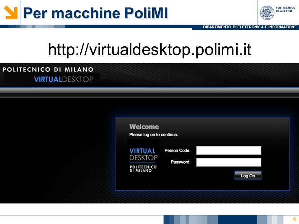 DIPARTIMENTO DI ELETTRONICA E INFORMAZIONE Per macchine PoliMI http://virtualdesktop.polimi.it 4