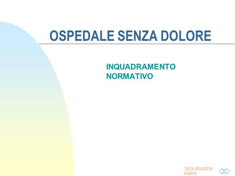 Torna alla prima pagina OSPEDALE SENZA DOLORE INQUADRAMENTO NORMATIVO