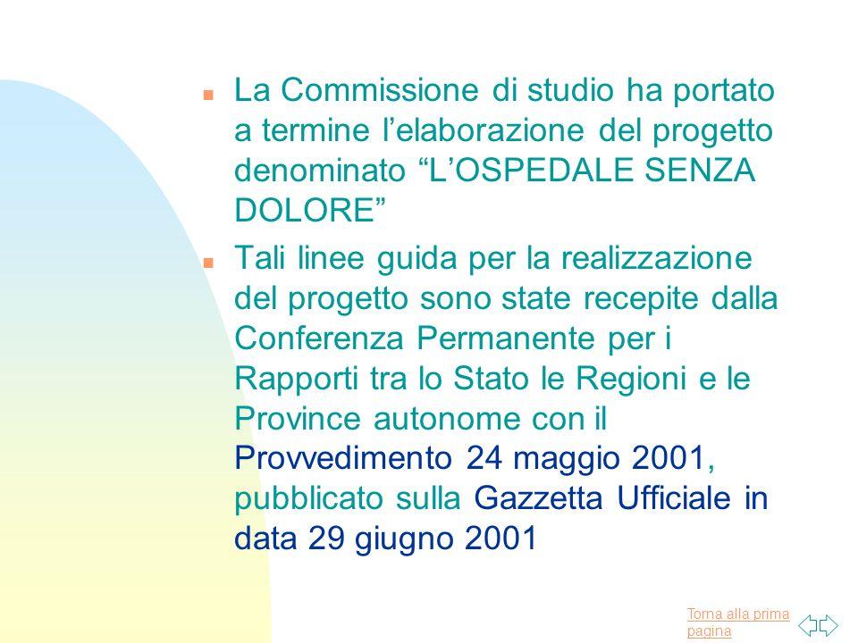 Torna alla prima pagina n La Commissione di studio ha portato a termine lelaborazione del progetto denominato LOSPEDALE SENZA DOLORE n Tali linee guid