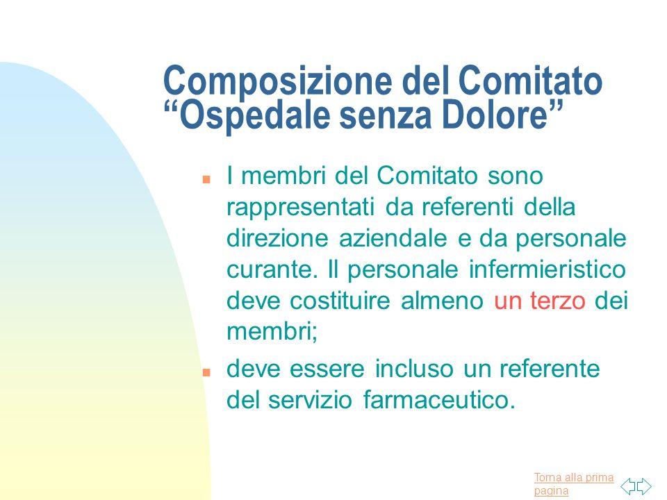 Torna alla prima pagina Composizione del Comitato Ospedale senza Dolore n I membri del Comitato sono rappresentati da referenti della direzione aziend