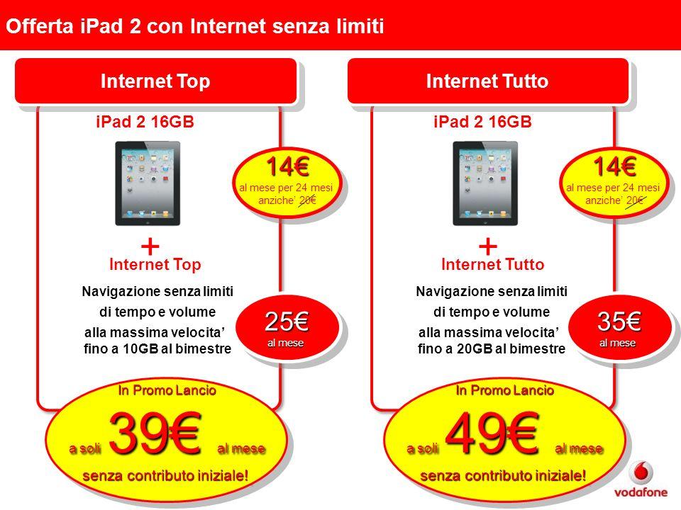 Offerta iPad 2 con Internet senza limiti iPad 2 16GB Internet Top + In Promo Lancio a soli 39 al mese senza contributo iniziale.