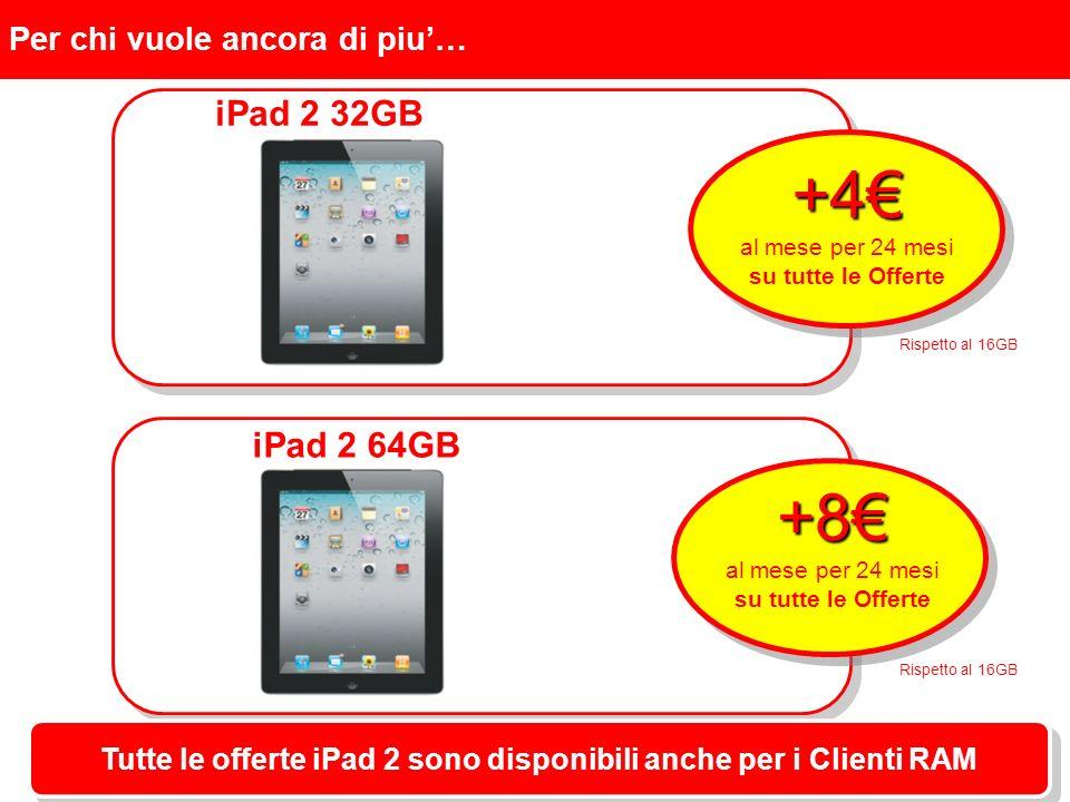 Per chi vuole ancora di piu… iPad 2 32GB +4 al mese per 24 mesi su tutte le Offerte Tutte le offerte iPad 2 sono disponibili anche per i Clienti RAM iPad 2 64GB +8 al mese per 24 mesi su tutte le Offerte Rispetto al 16GB
