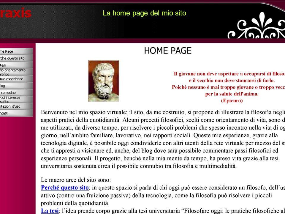 La home page del mio sito