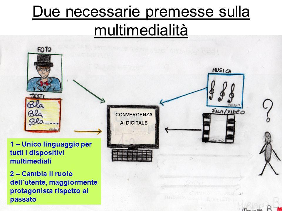 CONVERGENZA Al DIGITALE Due necessarie premesse sulla multimedialità 1 – Unico linguaggio per tutti i dispositivi multimediali 2 – Cambia il ruolo dellutente, maggiormente protagonista rispetto al passato