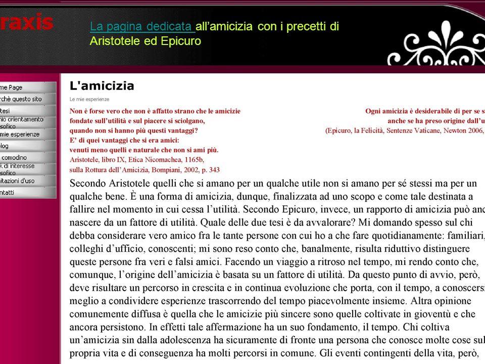 La pagina dedicata La pagina dedicata allamicizia con i precetti di Aristotele ed Epicuro