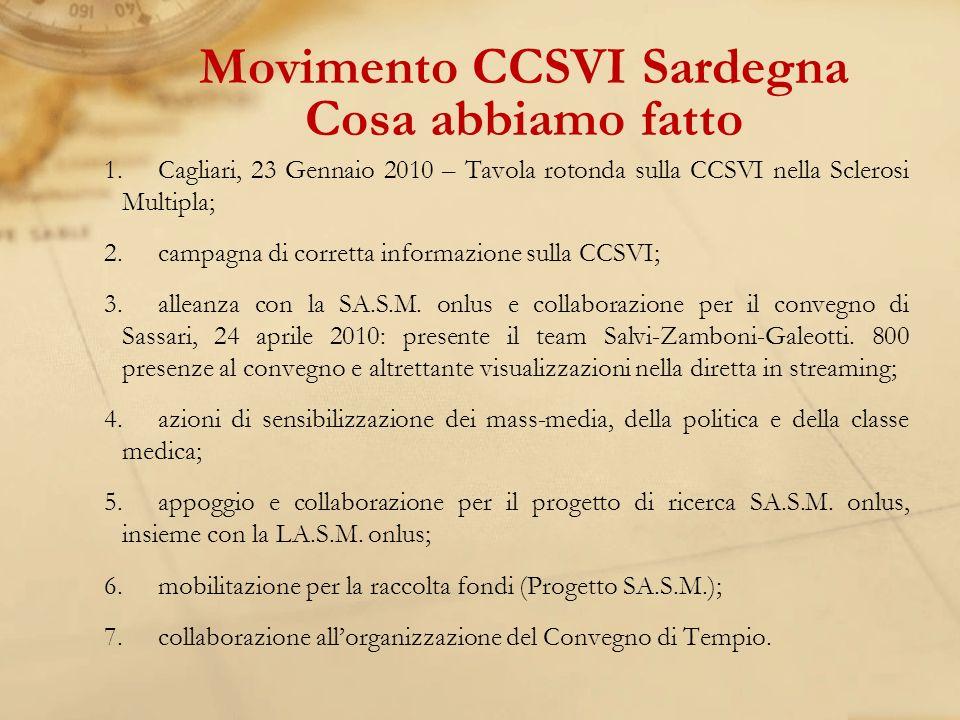 1.Cagliari, 23 Gennaio 2010 – Tavola rotonda sulla CCSVI nella Sclerosi Multipla; 2.campagna di corretta informazione sulla CCSVI; 3.alleanza con la SA.S.M.
