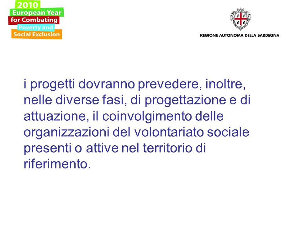 i progetti dovranno prevedere, inoltre, nelle diverse fasi, di progettazione e di attuazione, il coinvolgimento delle organizzazioni del volontariato sociale presenti o attive nel territorio di riferimento.