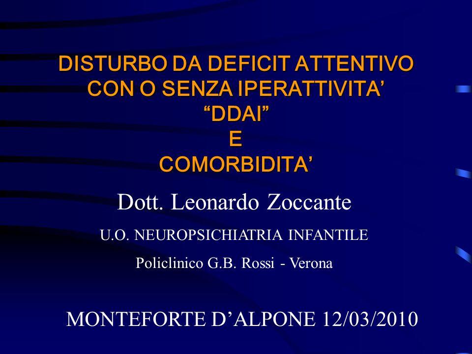 DISTURBO DA DEFICIT ATTENTIVO CON O SENZA IPERATTIVITA DDAI E COMORBIDITA MONTEFORTE DALPONE 12/03/2010 Dott. Leonardo Zoccante U.O. NEUROPSICHIATRIA