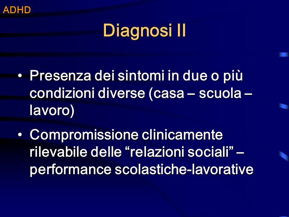Diagnosi II Presenza dei sintomi in due o più condizioni diverse (casa – scuola – lavoro)Presenza dei sintomi in due o più condizioni diverse (casa –
