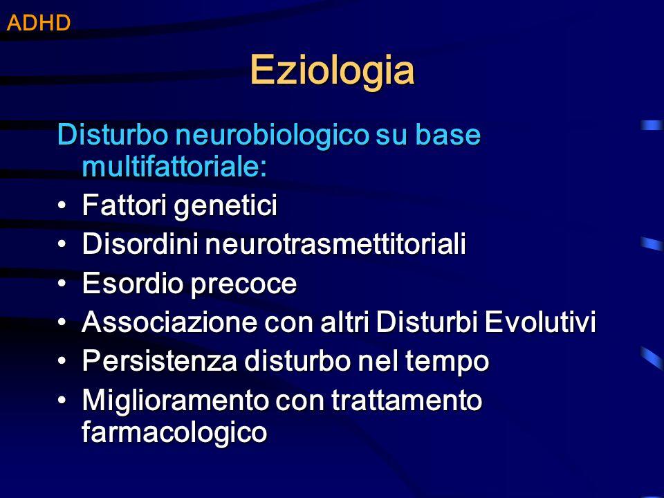 Eziologia Disturbo neurobiologico su base multifattoriale: Fattori geneticiFattori genetici Disordini neurotrasmettitorialiDisordini neurotrasmettitor