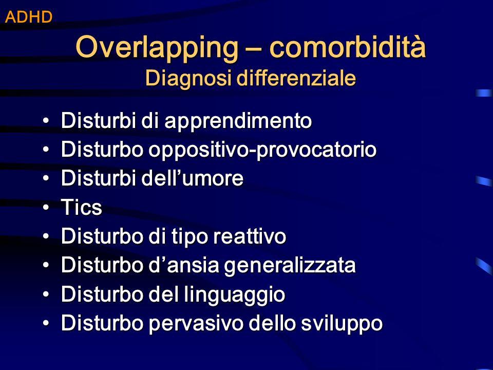 Overlapping – comorbidità Diagnosi differenziale Disturbi di apprendimentoDisturbi di apprendimento Disturbo oppositivo-provocatorioDisturbo oppositiv
