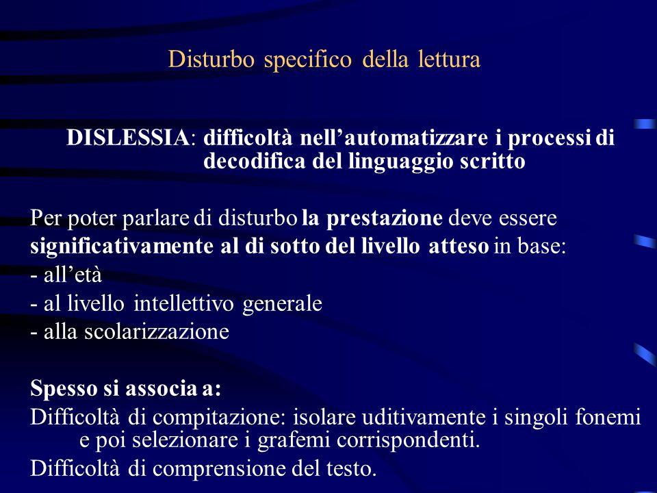 Disturbo specifico della lettura DISLESSIA: difficoltà nellautomatizzare i processi di decodifica del linguaggio scritto Per poter parlare di disturbo