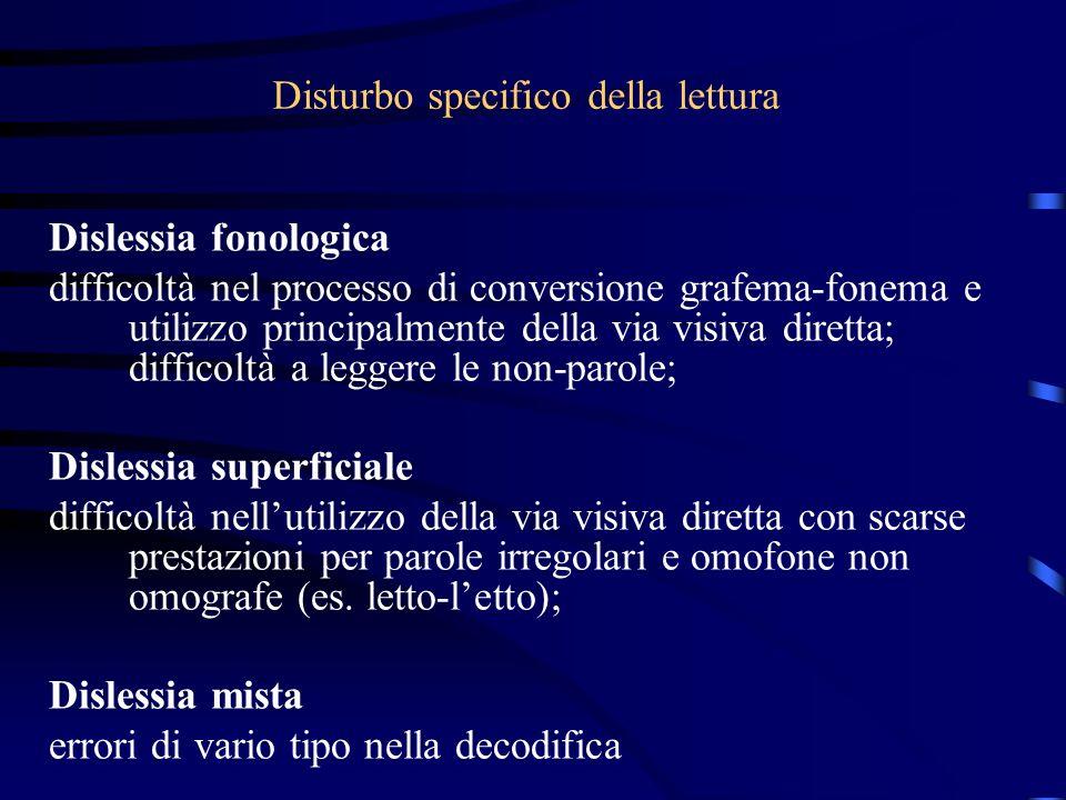 Disturbo specifico della lettura Dislessia fonologica difficoltà nel processo di conversione grafema-fonema e utilizzo principalmente della via visiva