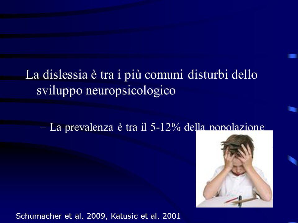 La dislessia è tra i più comuni disturbi dello sviluppo neuropsicologico –La prevalenza è tra il 5-12% della popolazione Schumacher et al. 2009, Katus