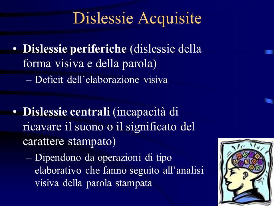 Dislessie periferiche (dislessie della forma visiva e della parola) –Deficit dellelaborazione visiva Dislessie centrali (incapacità di ricavare il suo