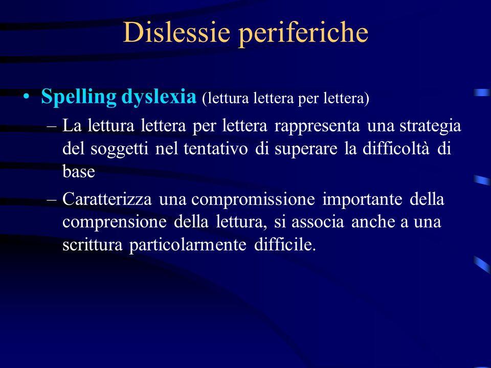 Dislessie periferiche Spelling dyslexia (lettura lettera per lettera) –La lettura lettera per lettera rappresenta una strategia del soggetti nel tenta